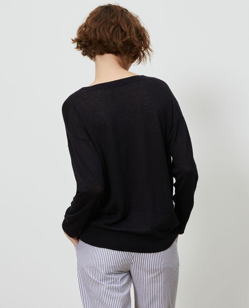 Jersey de lino y algodón bío Black beauty Leonotis