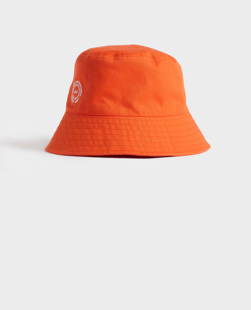 Sombrero bob de algodón liso bordado Spicy orange Nook