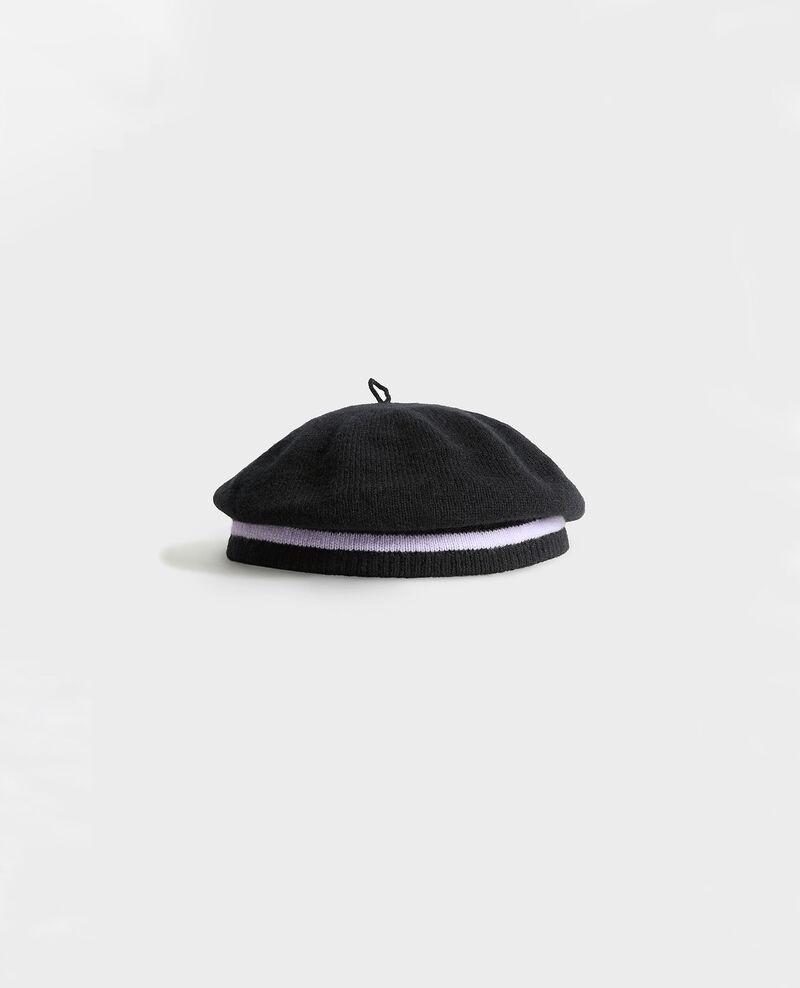 Boina de cachemir Stripe black lilac Mions