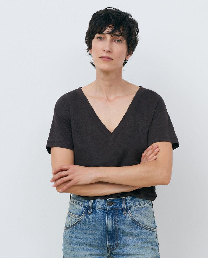 Camiseta de lino con cuello de pico Mole Locmelar