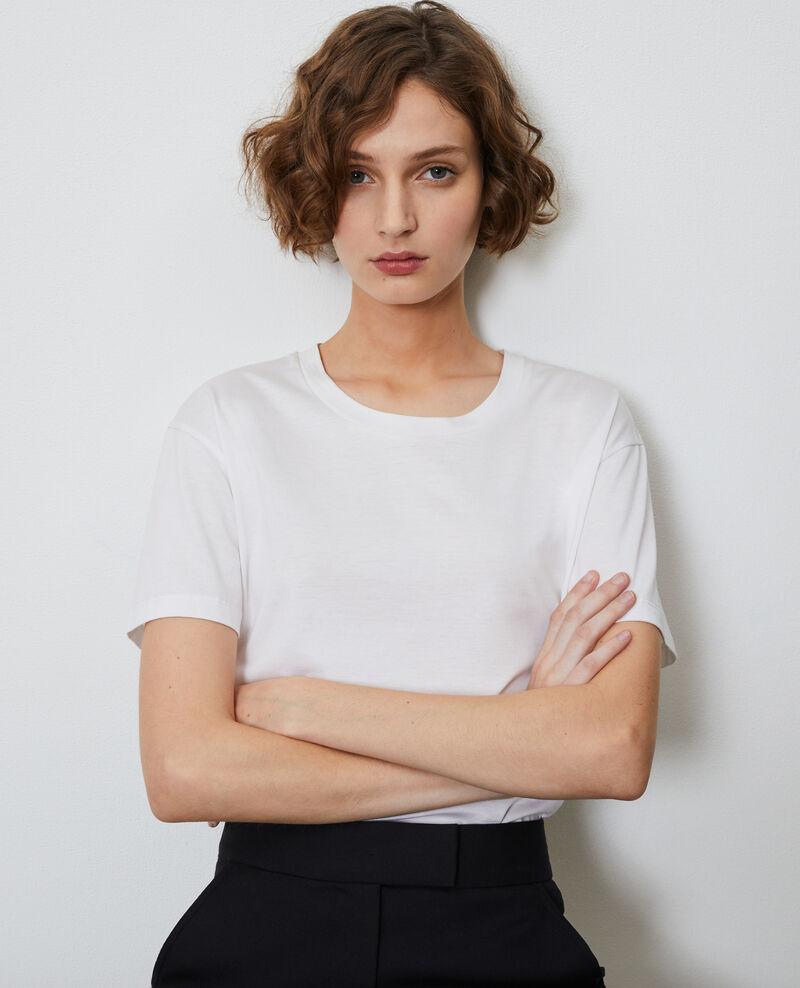 Camiseta de algodón con cuello redondo Optical white Lirous