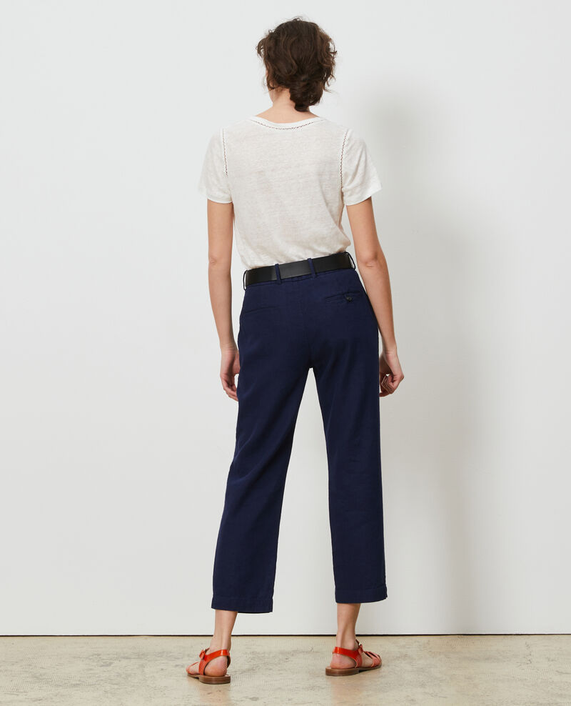Pantalón de lino con longitud 7/8 Maritime blue Laiguillon