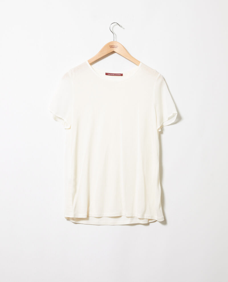 Camiseta de dos materiales Off white Jabelle