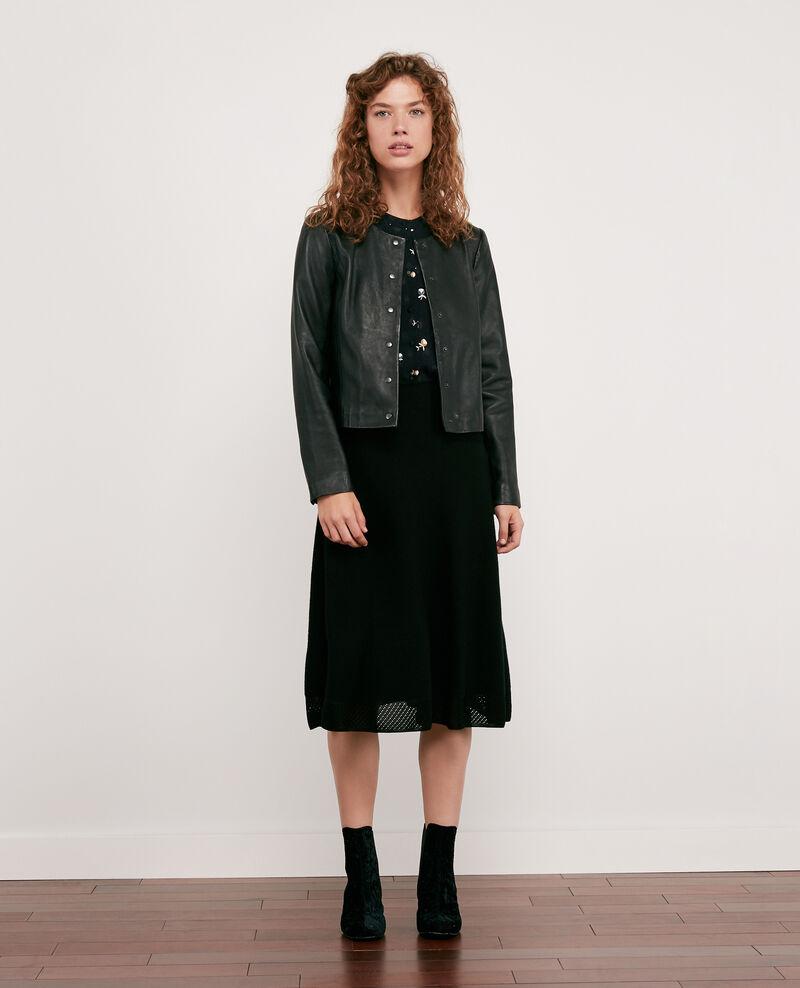 Falda de punto sin costuras 100 % de lana Noir Dedicasser