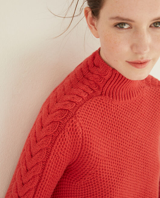 Jersey de lana con detalle de trenza Rojo
