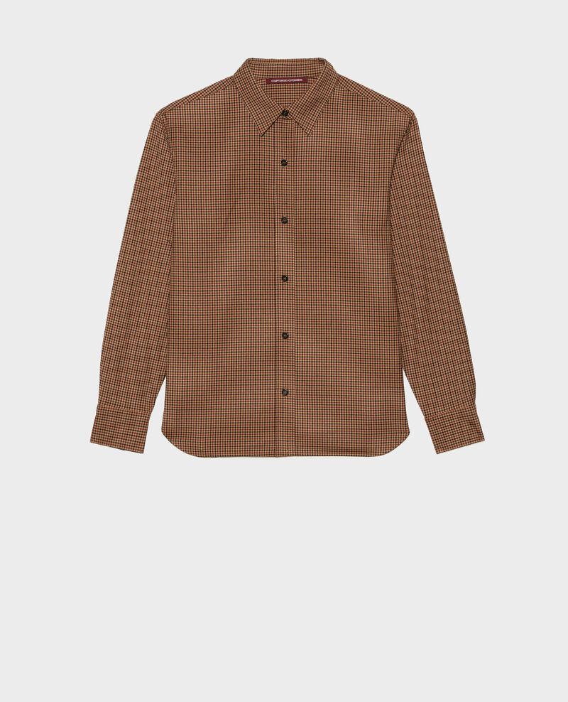 Camisa masculina de lana fina Little check latte Mynda