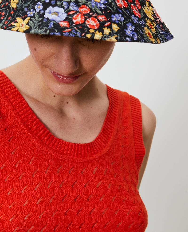 Camiseta de tirantes de algodón y lino Pureed pumpkin Nuille