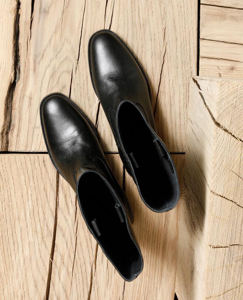 Botas de piel lisa Negro Gemini