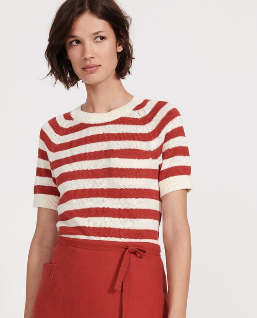 Jersey de algodón y lino STRIPES KETCHUP BUTTERCREAM