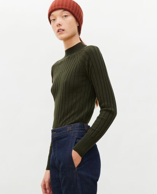 Jersey de canalé con cuello subido de lana merino MILITARY GREEN