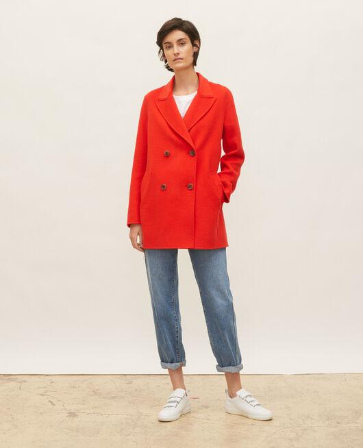 Abrigo tipo chaquetón de lana doble cara FIERY RED