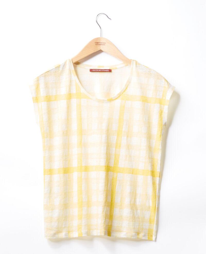 Camiseta estampada de lino Ghingham big lemon Fengshui