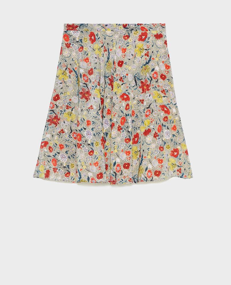 Falda corta acampanada de seda motivo floral Print eden cream Maurau
