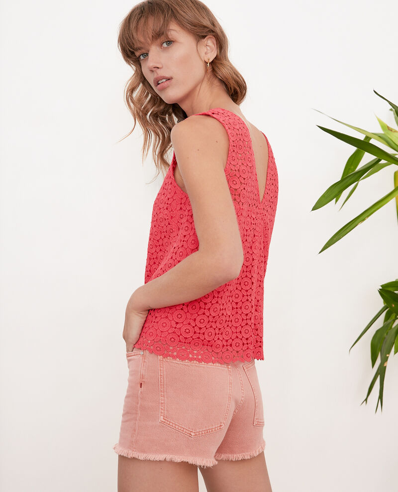 Top con bordado inglés Ultra pink Foulouse