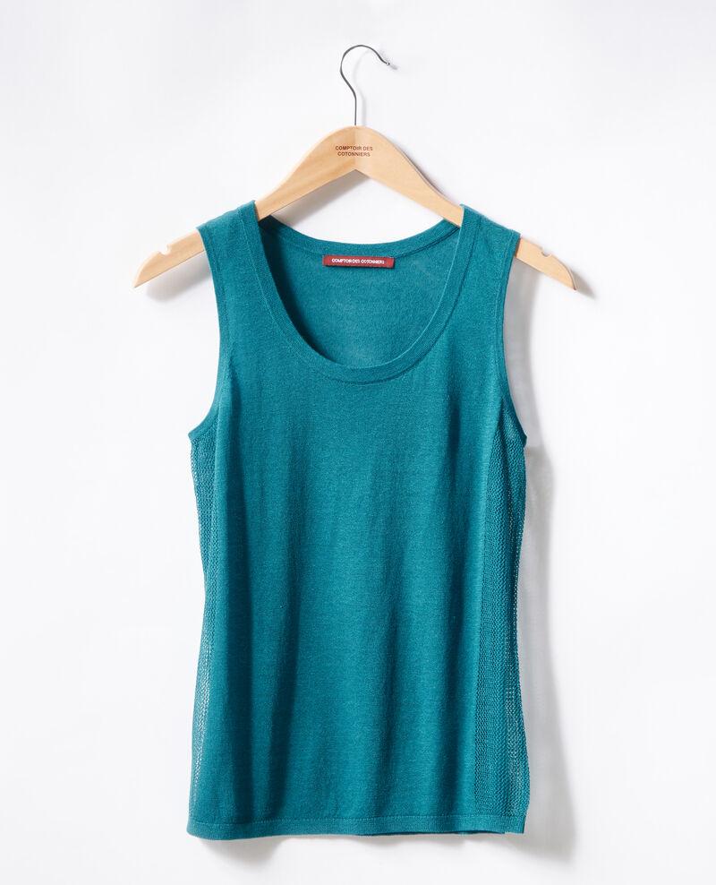 Camiseta de tirantes de punto con detalles calados Pacific green Flanelle