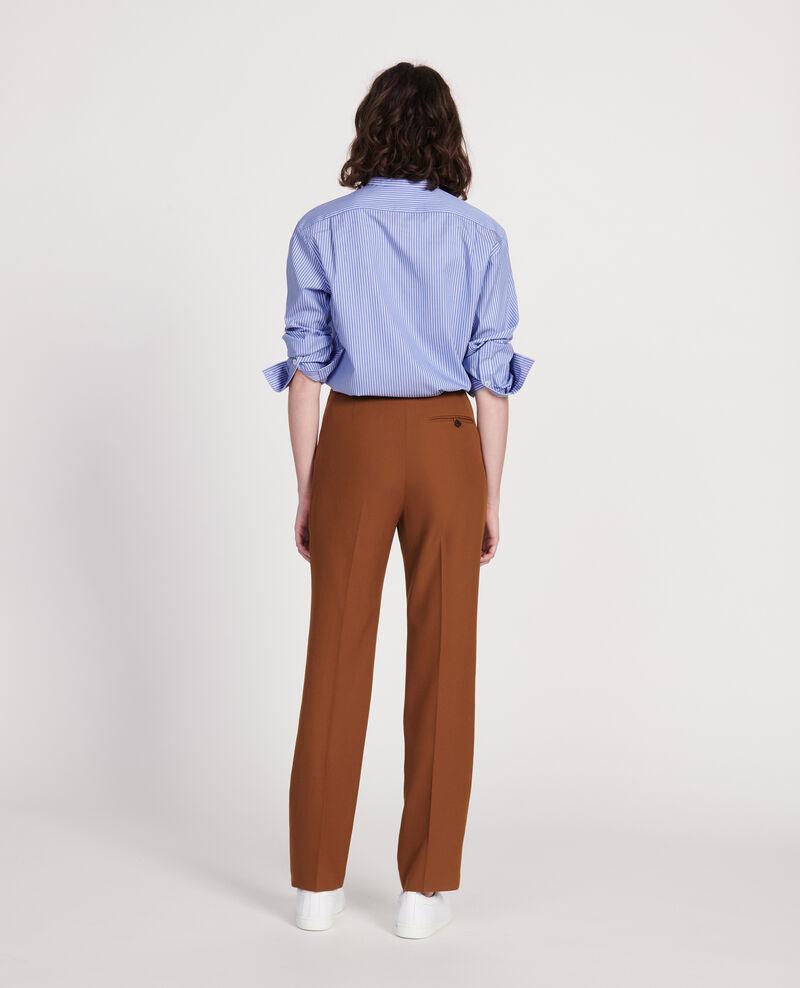 Pantalón recto de lana lisa Monks robe Lisabelle