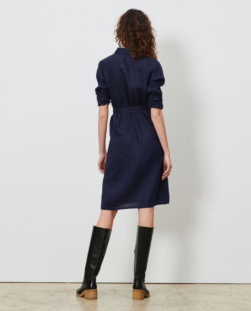 Vestido camisero de lino Maritime blue Lesprit
