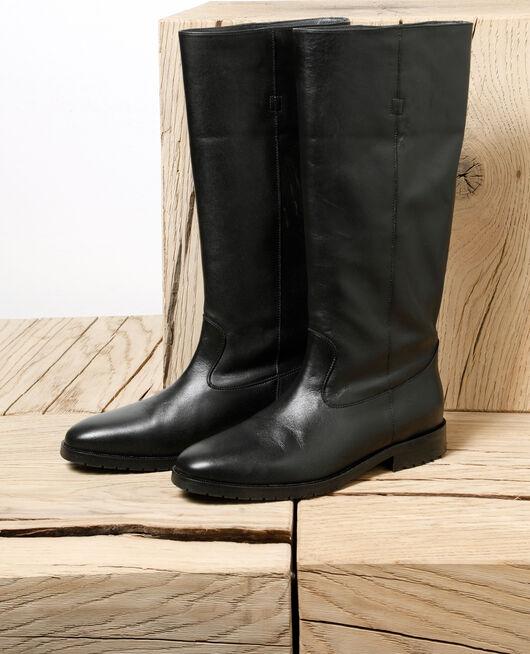 Botas de piel lisa Negro