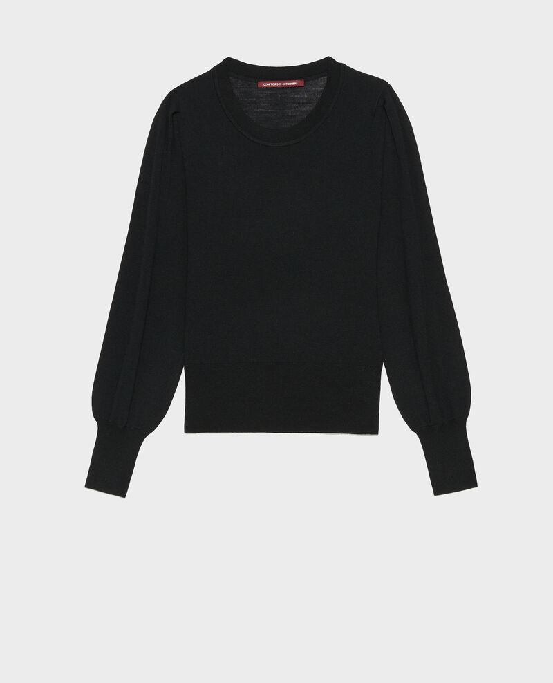 Jersey de lana merino con cuello redondo Black beauty Molineta