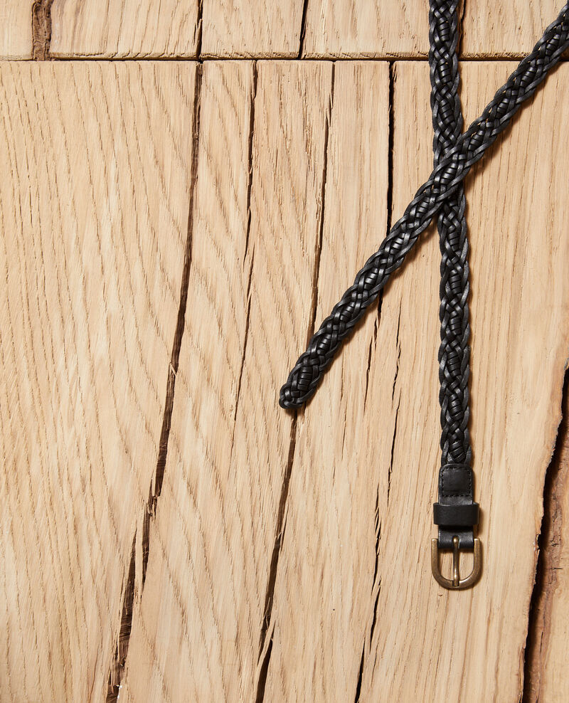 Cinturón trenzado de cuero Negro Glane