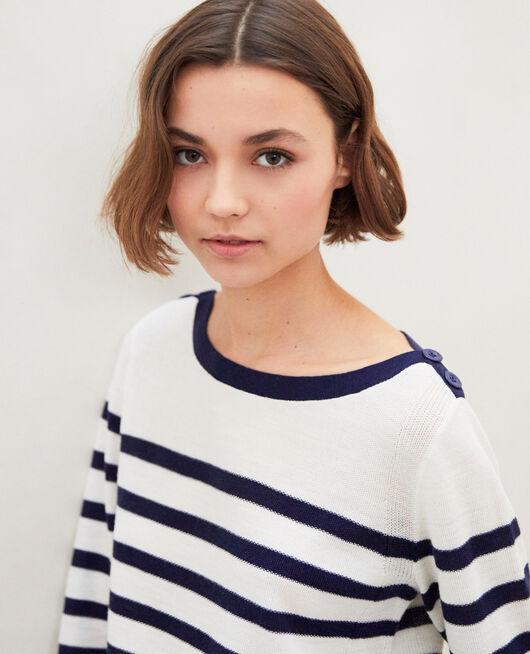 Jersey rayado de lana OFF WHITE/NAVY