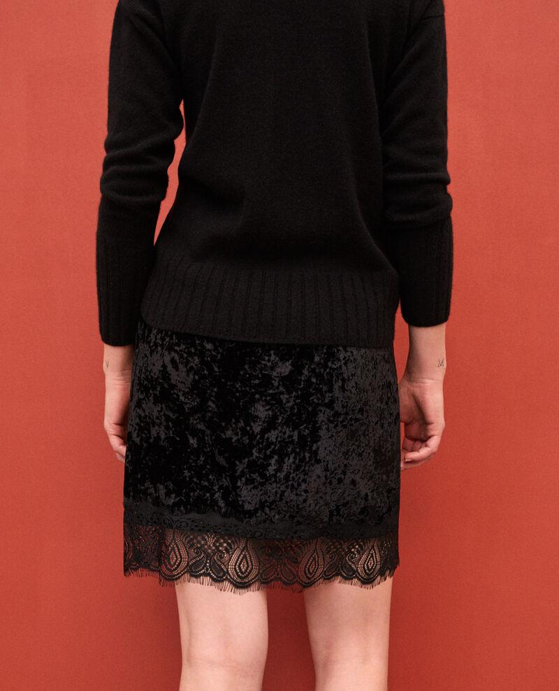 Falda de terciopelo y encaje Negro Gristmas