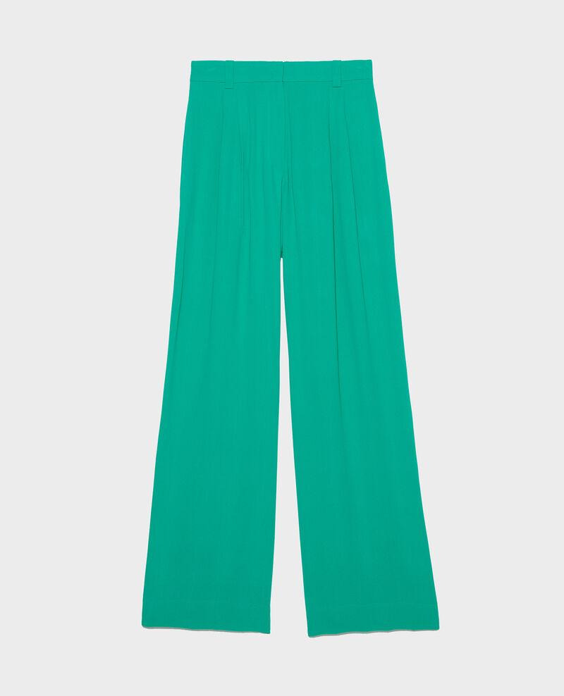 Pantalón de viscosa ancho y fluido con pinzas Golf green Logance