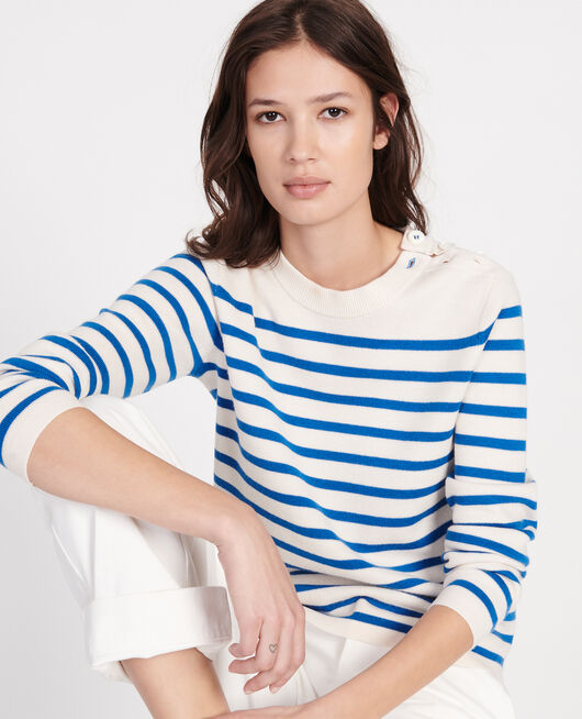 Jersey de lana atemporal STRIPES PRINCESS BLUE GARDENIA