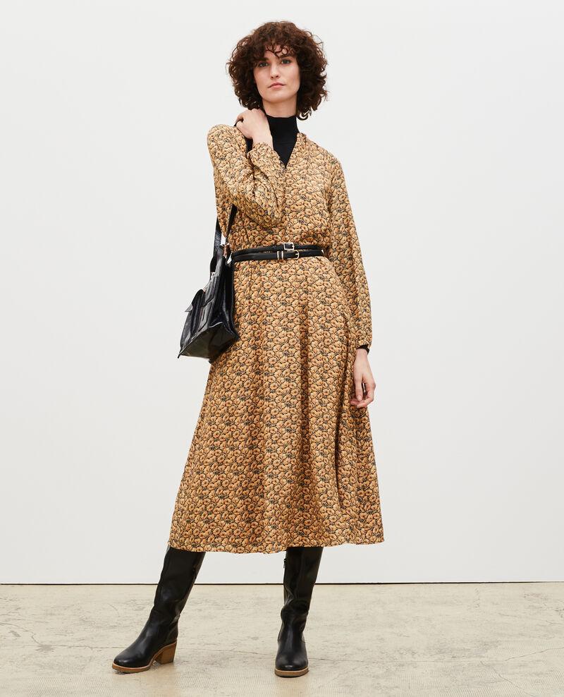 Vestido largo de seda con cinturón y cuello de pico Print artdeco lemoncurry Marieuxa