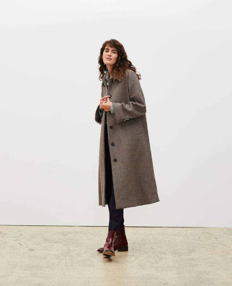 Abrigo evasé de tweed de lana Houndtooth-latte Magnan