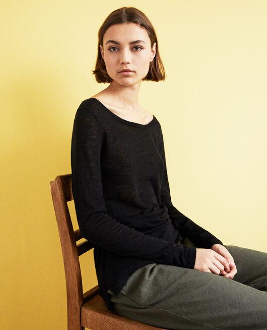 Jersey de lana con cuello redondo NOIR
