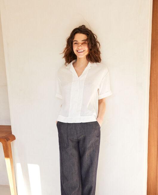 Camisa con cuello abierto de lino OFF WHITE
