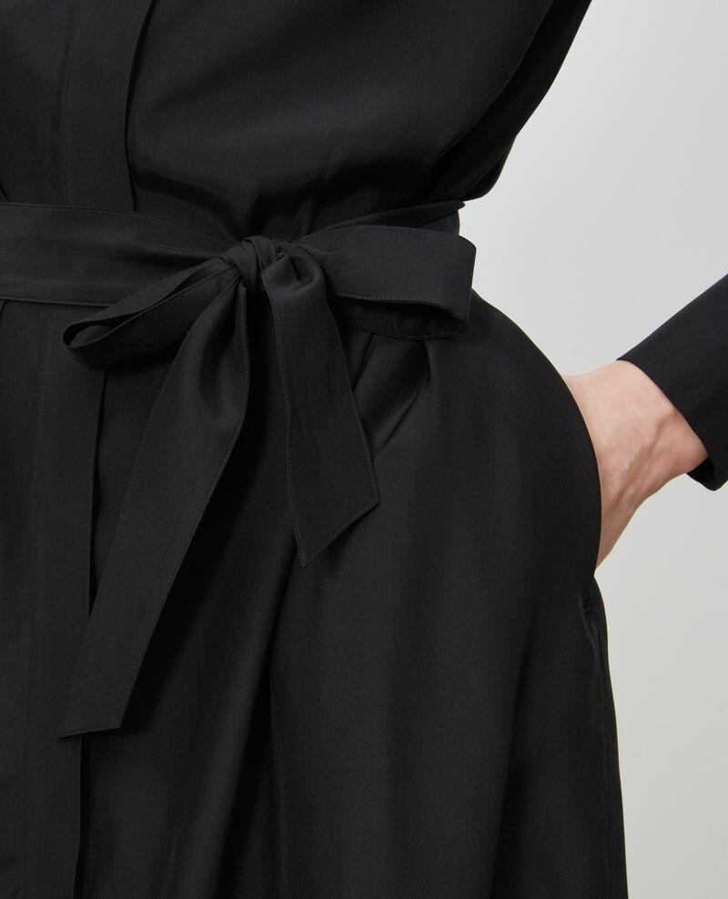 Vestido camisero de seda Black beauty Nishiga