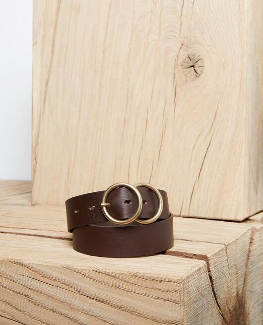 Cinturón de cuero con doble hebilla DARK BURGUNDY