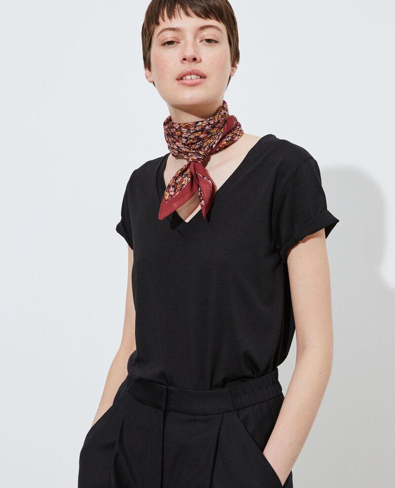 Camiseta fluida con cuello de pico Black beauty Paberne