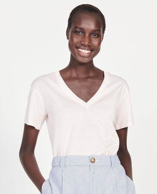 Camiseta de algodón con cuello de pico y manga corta PRIMROSE PINK