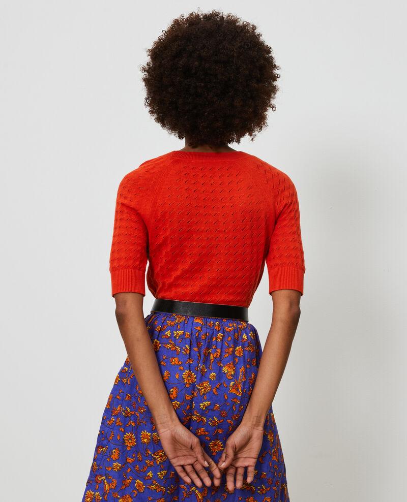 Jersey de manga corta de algodón y lino Pureed pumpkin Novileta