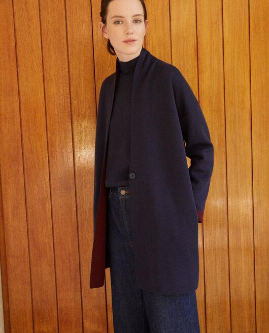 Cárdigan con lana de doble cara Azul