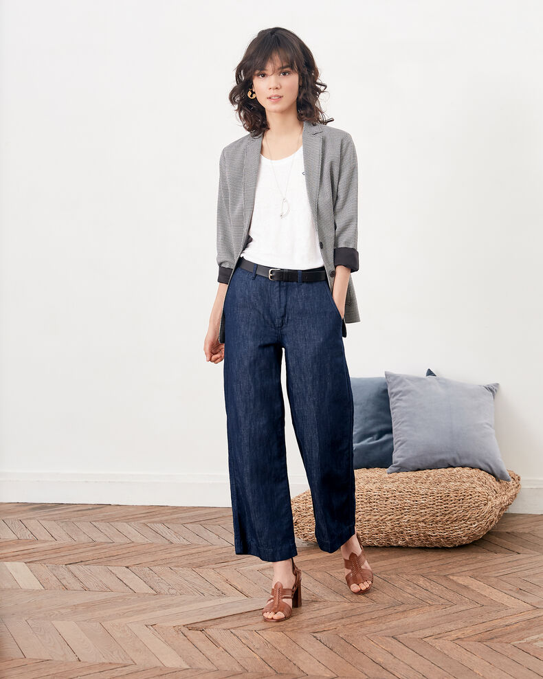 Camiseta de lino bordada Blanc/indigo Folong