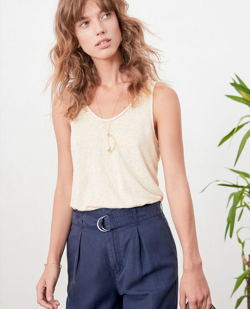 Camiseta de lino con tirantes Natural Fagou