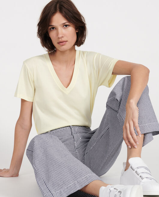 Camiseta de algodón con cuello de pico y manga corta TENDER YELLOW