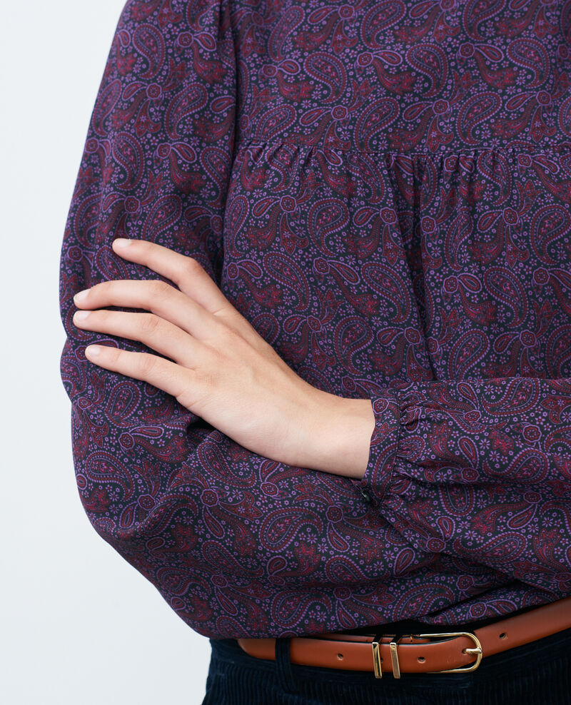 Parte superior fruncida de seda Paisley purple Palante