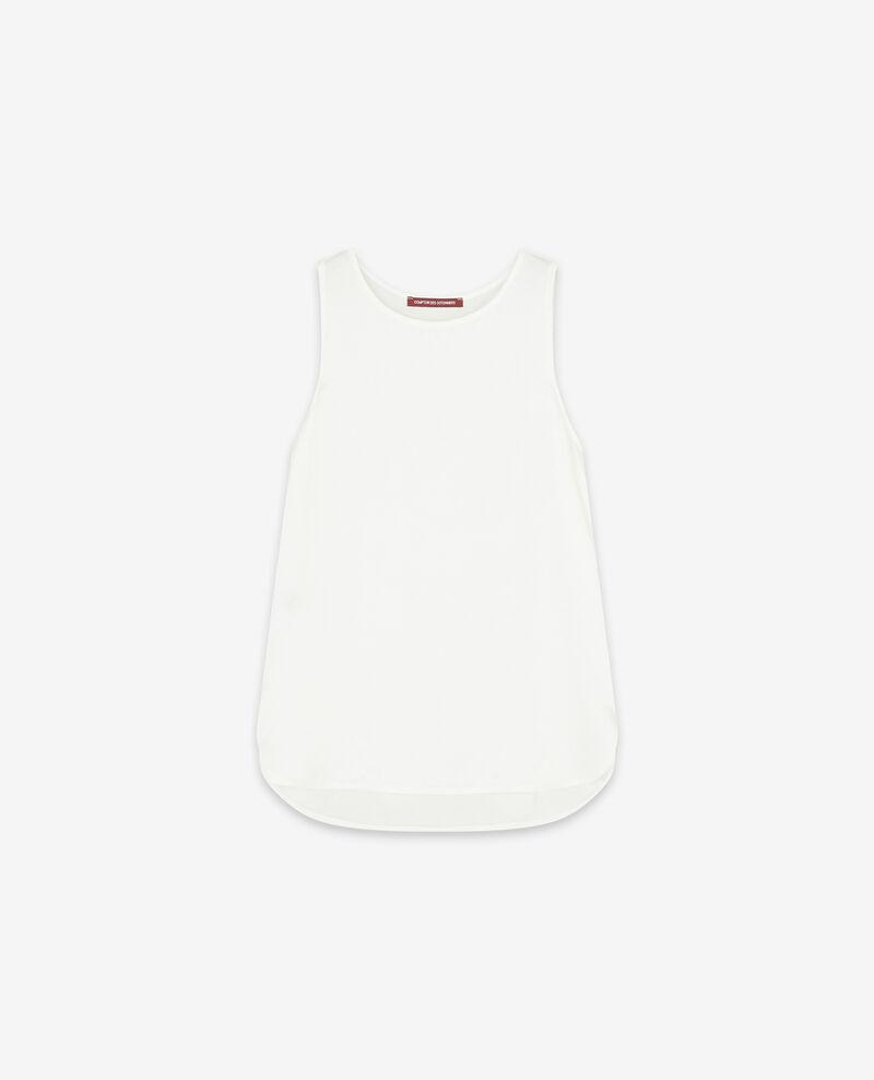 Camiseta de dos tejidos con seda Off white Dicton