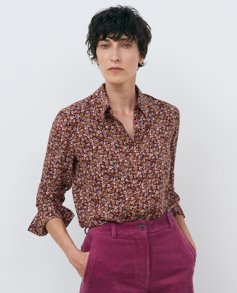 SIBYLLE - Camisa de seda con manga larga Liberty cabernet Misabethou