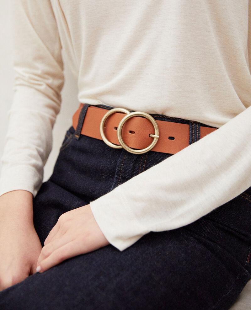 Cinturón de cuero con doble hebilla Camel Idoublo