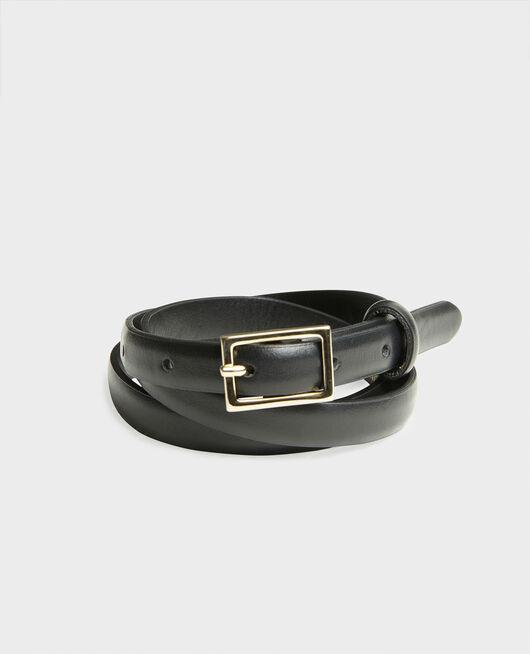 Cinturón fino de cuero con hebilla rectangular BLACK BEAUTY