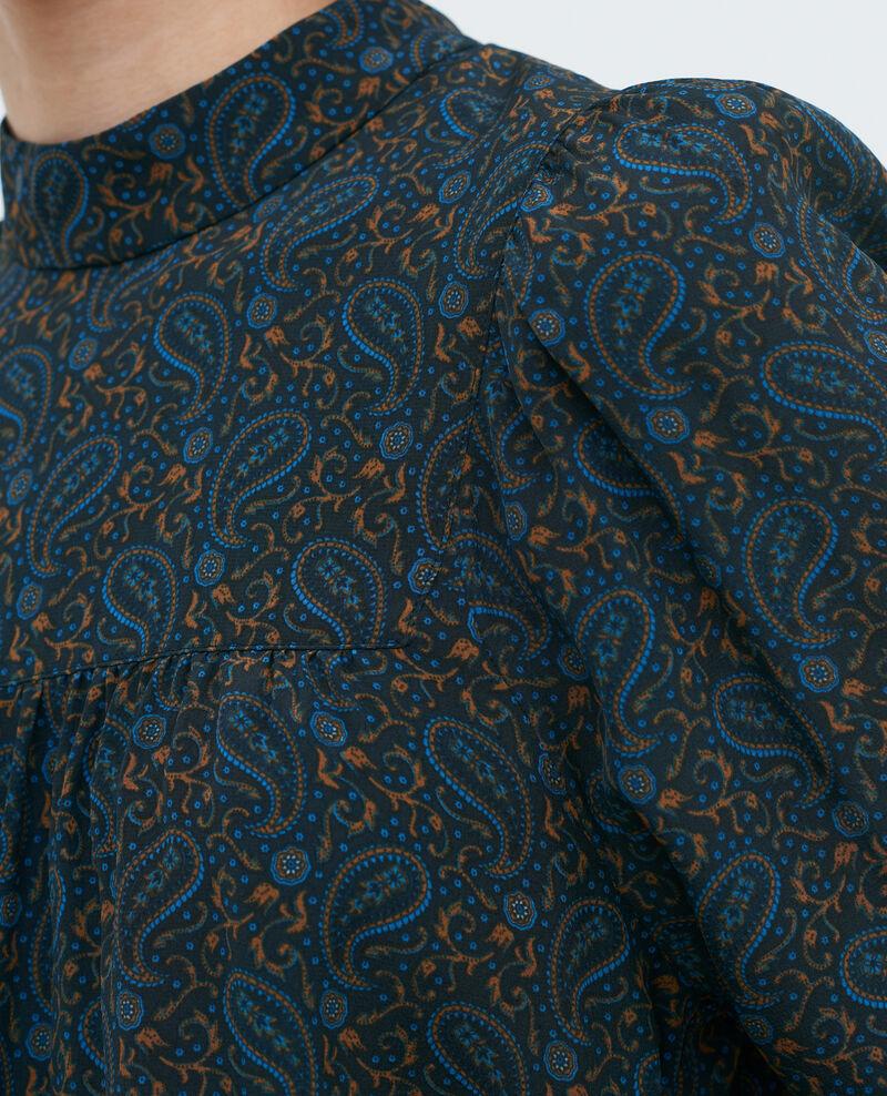 Parte superior fruncida de seda Paisley blue Palante