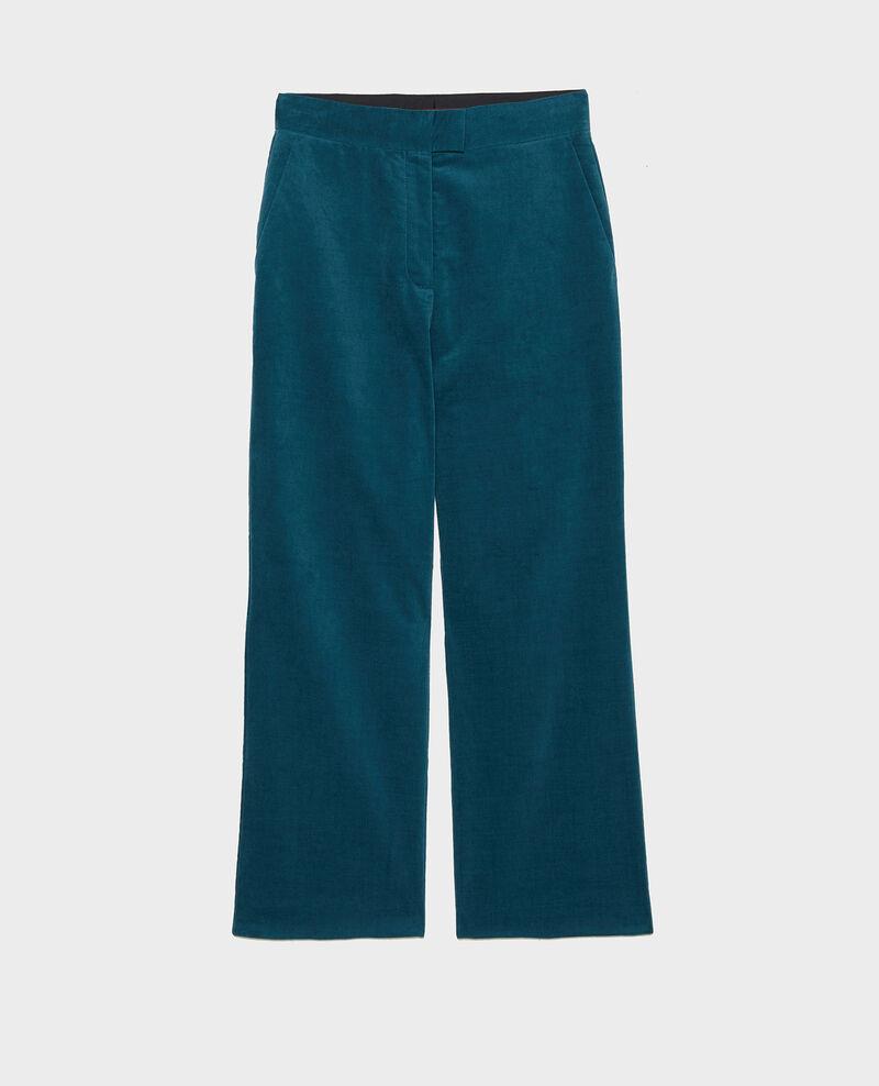 Pantalón campana de terciopelo con talle alto 7/8 Blue coral Marousseau