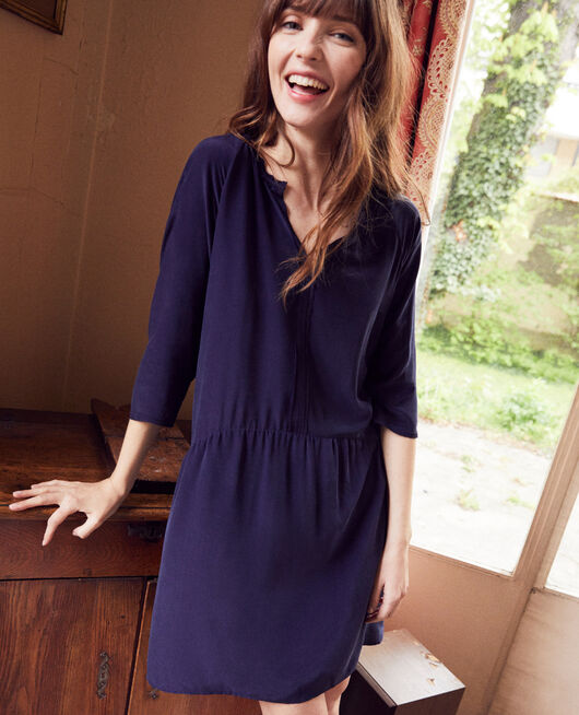 Vestido con seda EVENING BLUE
