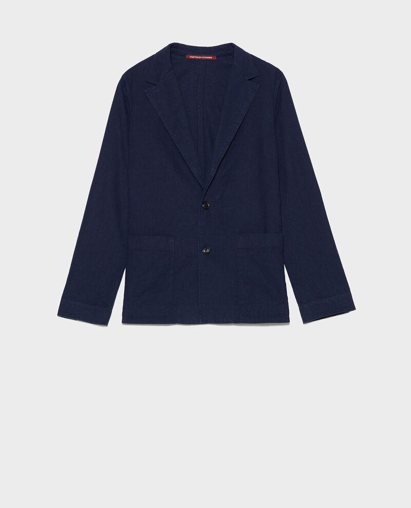 Blazer masculino de algodón y lino Maritime blue Lalbere